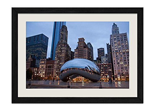 CU.RONG Cloud Gate Chicago Wood Frame Poster Home Art Deco Picture Print Framed Painting(16x24 in Black Frame)
