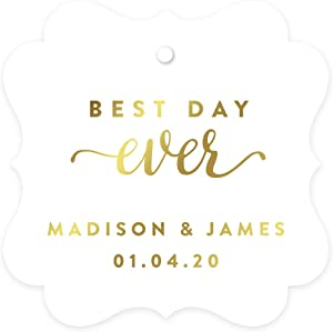 Andaz Press Personalized Fancy Frame Square Wedding Gift Tags, Metallic Gold Ink, Best Day Ever, 24-Pack, Custom Made Any Name, Gold Decor Decorations