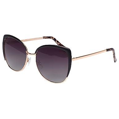 94ed0a6b79 VIVIENFANG Sicilian Taste Semi-Rimless Cat eye sunglasses Women s Oversized Sunglasses  Polarized 86447B Black