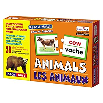 StonKraft Read Animals & Associate (French) | Learn French | Learning Games | Educational Games & Toys | Matching Games for Kids & Toddlers