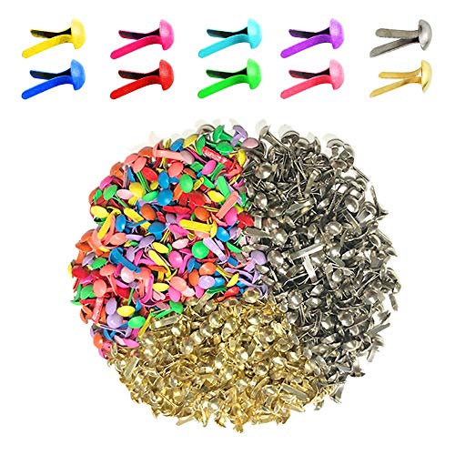 Metal Brads Scrapbooking (600 Pieces 8 x 12mm Assorted Bright Color Mini Brads Round Paper Fasteners Brass Pastel Metal Brads for Scrapbooking Crafts DIY Paper (8 x 12mm))
