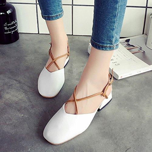RUGAI-UE Sandalias de Verano Mujer Zapatos Retro White