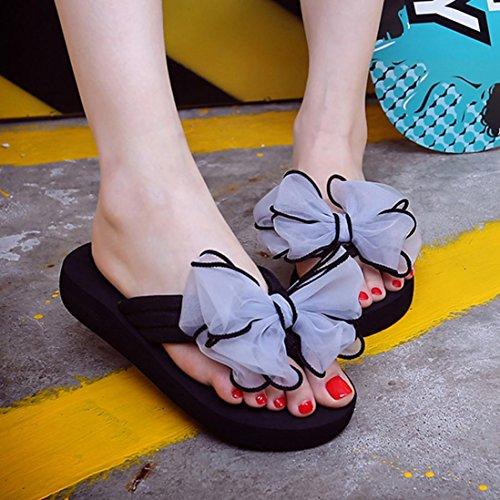 Webla Mujer Verano Bowknot Slide En Sandalias Zapatillas Interior Al Aire Libre Flip-flops Playa Zapatos Verano Gris