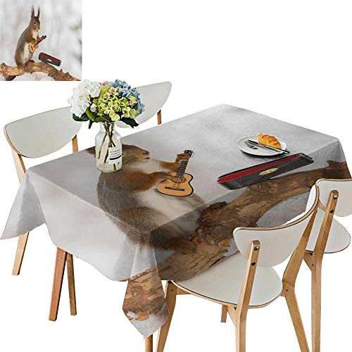 UHOO2018 Tablecloth red Squirrel in Snow Guitar Square/Rectangle Table Cover,52 x 412inch