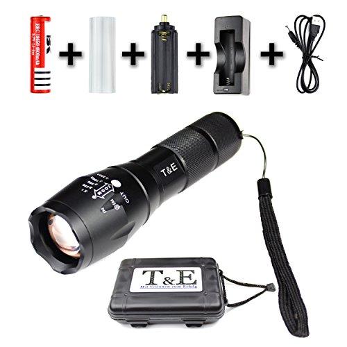 Taschenlampe Super Helle Hochleistungs Cree Led, Hochwertiges Set - USB-Ladegerät + 18650 Akku, 900 Lumen, Einstellbarer Zoom, 5 Beleuchtungsmodi, Stoßfest, Wasserdicht, Schwarzes Aluminium, Outdoor, Sports