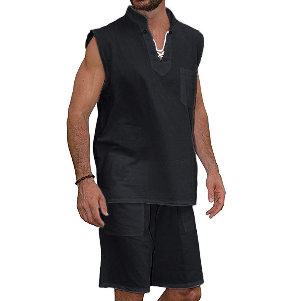 FONMA Men's Fashion T-Shirt Tee Hippie Shirts Short Sleeve Beach Shirt Shorts Suit Black by FONMA