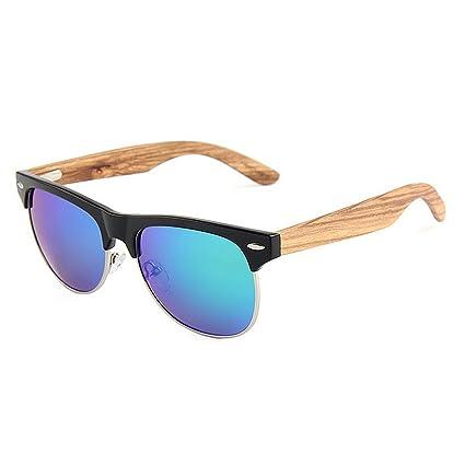 KOMEISHO Gafas de sol de madera polarizadas Unisex Classic semi-sin montura color TAC Lens