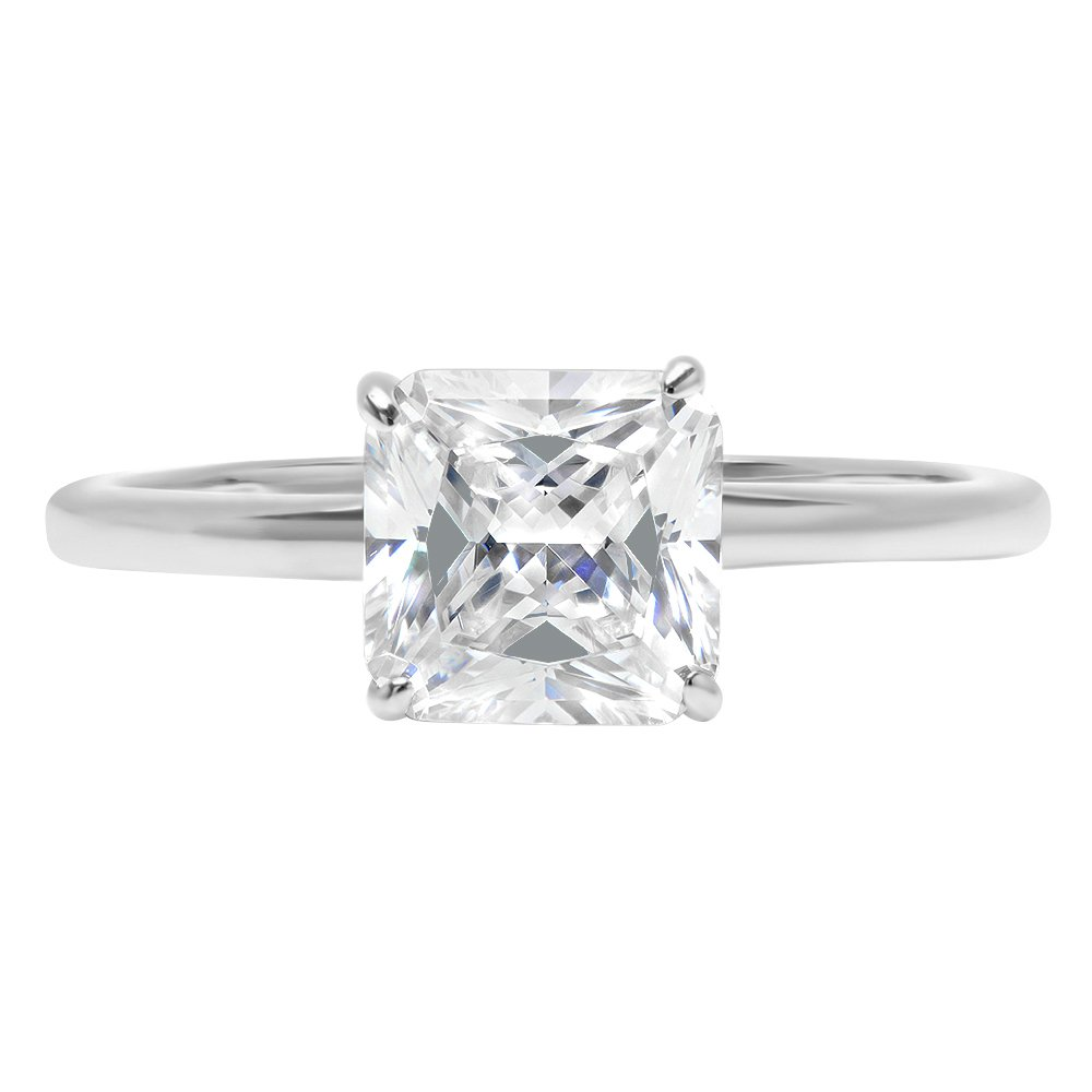 Clara Pucci 1.1ct Asscher Brilliant Cut Simulated Diamond Classic Solitaire Designer Statement Ring Solid 14k White Gold for Women, 4.25
