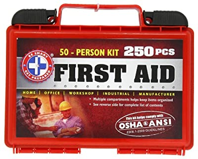 Be Smart Get Prepared 250 Piece First Aid Kit with ANSI Guidelines, 50 Person, 1.96 Pound from Be Smart Get Prepared