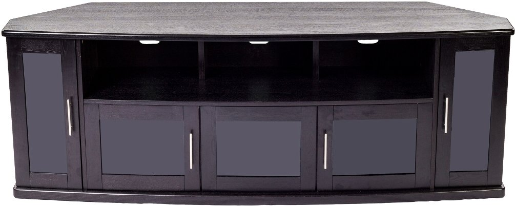 PLATEAU Corner Wood TV Stand with Black Oak Finish, 80-Inch