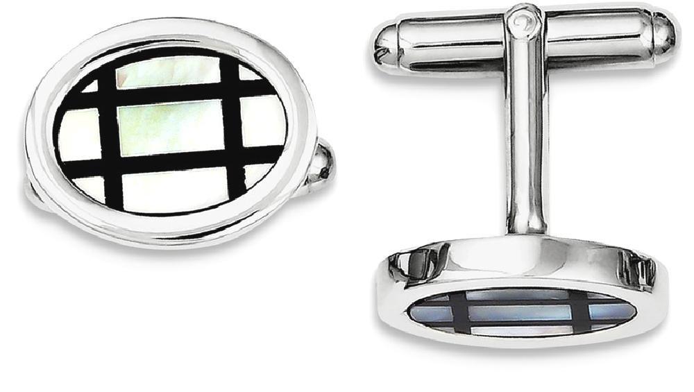 ICE CARATS 925 Sterling Silver Mop Black Enamel Cuff Links Mens Cufflinks Man Link Fine Jewelry Dad Mens Gift Set