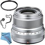 Fujifilm XF 23mm f/2 R WR Lens (Silver) 16523171 + 62mm UV Filter + Fibercloth + Lens Capkeeper Bundle