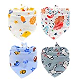Scheppend Pet Bandana Triangle Bibs Cotton Neckerchirf Comfortable Scartfs for Small Medium Dogs and Cats, 4 Packs (Style2)