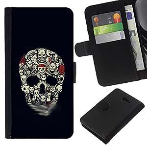 KLONGSHOP // Tirón de la caja Cartera de cuero con ranuras para tarjetas - Modelo del cráneo de Halloween Negro embrujada - Sony Xperia M2 //