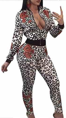 8087a48d6f FANCYINN Women Sexy Deep V Neck Floral Long Sleeve Bodycon Long Pants  Jumpsuit Rompers Club