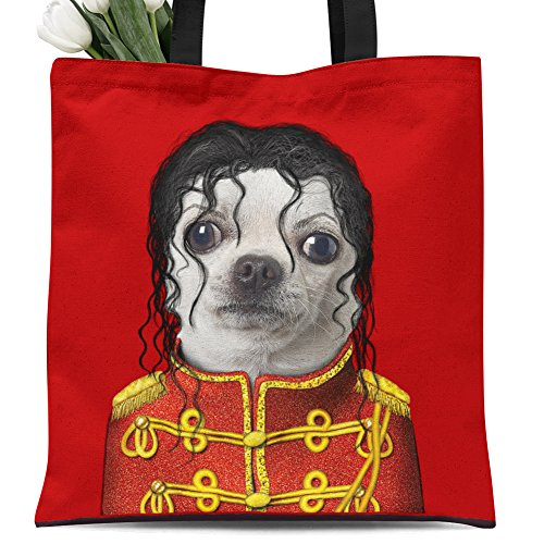 Jackson Zipper (Ladies canvas tote bag reusable shopping bag zipper handbag Animal Print Cute Design pet imitation show. Individual Zippered Storage Pouch (Jackson))