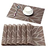 HEBE Placemats for Dining Table Set of 6 Heat Insulation Stain Resistant Kitchen Table Mats Non Slip Woven Vinyl Placemat Wipe Clean(6, Brown) Larger Image