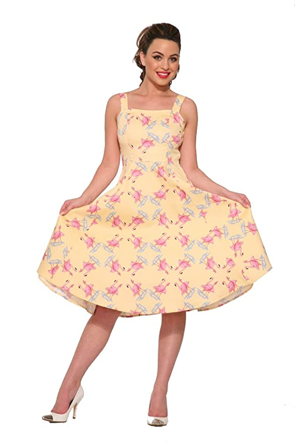 1950s Dresses, 50s Dresses | 1950s Style Dresses Hearts & Roses Flamingo Love Sundress in Yellow (Shipped from The US and US Sizes) $64.88 AT vintagedancer.com