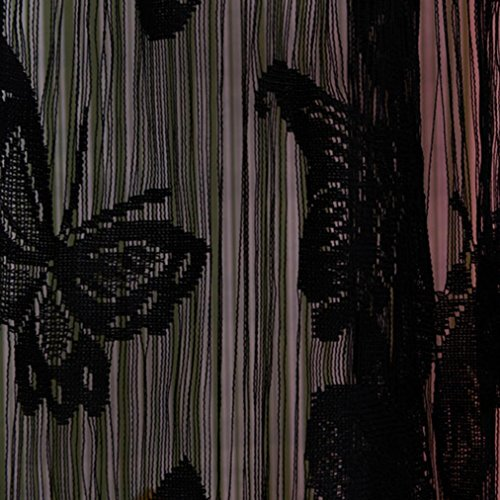 Coper Print Floral Voile Door Window Room Curtain With Butterfly Design 78 x 39 inch (Black) (Black Lace Window Scarf)