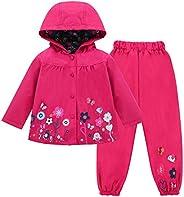 LZH Toddler Girls Raincoat Waterproof Rain Jacket Pants Suit with Coat Jacket Hooded
