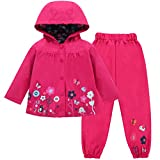 LZH Girl Baby Kid Waterproof Hooded Coat Jacket Outwear Suit Raincoat Hoodies with Pants Magenta 3T(For Age 2-3Y)