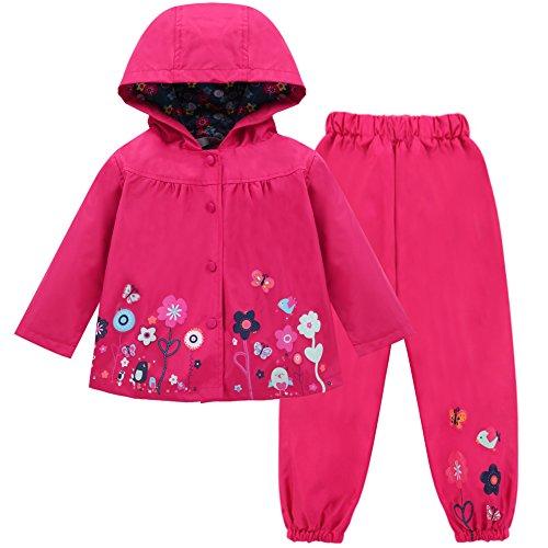 (LZH Girl Baby Kid Waterproof Hooded Coat Jacket Outwear Suit Raincoat Hoodies with Pants Magenta 4T(For Age)