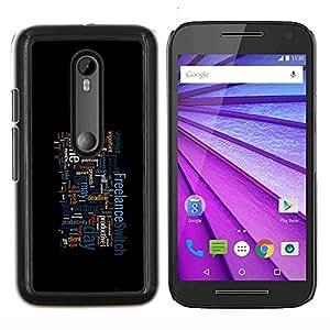 "Be-Star Único Patrón Plástico Duro Fundas Cover Cubre Hard Case Cover Para Motorola Moto G (3rd gen) / G3 ( Trabajo - Tipografía"" )"