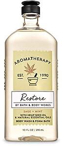 Bath and Body Works Body Care Aromatherapy - Body Wash + Foam Bath - 10 fl oz - Many Scents! (Restore - Sage + Mint)