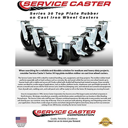 Service Caster - 8'' x 2'' Rubber on Cast Iron Wheel Caster Set - 2 Swivel w/Brakes/2 Rigid - 2,000 lbs Total Capacity - Set of 4 by Service Caster (Image #2)