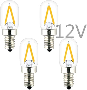 12 Volts Low Voltage Input Mini Torpedo Shape 150LM 15W Incandescent Equivalent Dimmable with DC Dimmer OPALRAY C7 DC 12V 24V 1W LED Mini Candle Bulb 4-Pack for 12V-24V Power Warm White Light