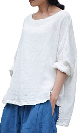 e30243d935c19 Soojun Women s Embroidery Round Collar Pure Cotton Linen Top Blouses White