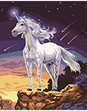 Wowdecor Paint by Numbers Canvas Kits for Adults Beginner Kids, DIY Acrylic Number Painting - Starry Night Unicorn 16x20 inch - Wall Art Digital Oil Painting Home Decor Christmas Gifts (Frameless)