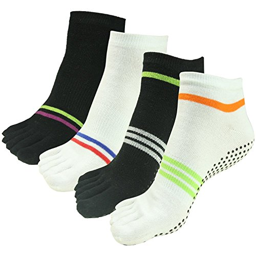 J'colour Pair 2 003 Black Athletic Stripes Women Gripes Pilates amp;white amp;Men Socks Slip Socks Sports 4 Non Ankle Different Barre Yoga for fwnrHafq