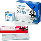 AmScope BSC6-50P100S22 50 Pre-Cleaned Blank Plate Microscope Slides and 6 Single Depression Concave Slides Plus 100 Coverslips