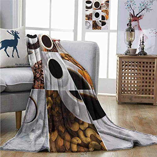 Homrkey Warm Blanket Kitchen Coffee Mugs Collage with Almonds Cashews Beans Cinnamon Modern Composition Plush Blankets W40 xL60 White Black - Cashew 25 Lb