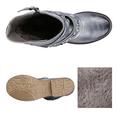 Stiefelparadies Gefütterte Damen Biker Boots Nieten Schnallen Stiefeletten Gr. 36-42 Flandell Silber Schnalle