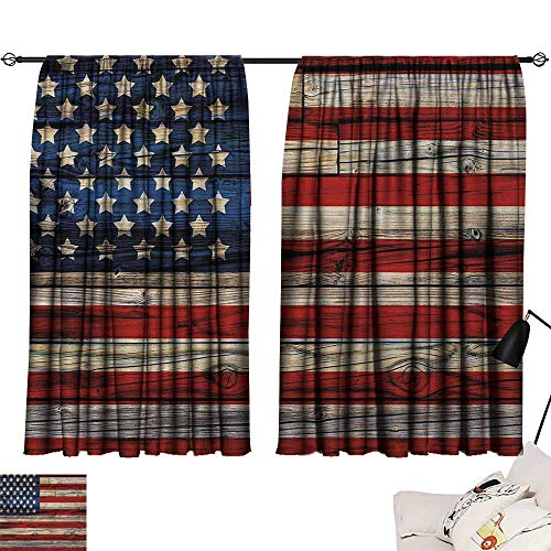 Jinguizi 4th of July Curtain Decoration Wooden Planks Painted as United States Flag Patriotic Country Style Insulated Darkening Curtains Red Beige Navy Blue W55 x L39 by Jinguizi (Image #6)