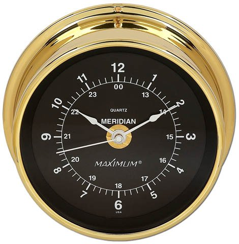 Maximum Weather Instruments Meridian Time Clock - Brass case, Black dial
