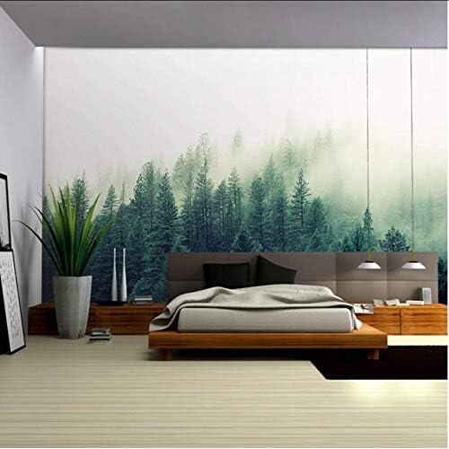 Wkxzz 壁の背景装飾画 自然の風景自然の霧の木の森の壁紙壁画ステッカーリビングルームの寝室の装飾壁画-200X140Cm