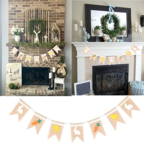 Faylapa Bunny Carrot Burlap Banner Flags Bunting for Easter Party Favors Decoration Spring Photo Prop (Rabbit Chick (Rabbit Chick)