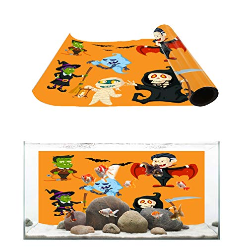 Fantasy Star Aquarium Background Halloween Witch Vampire and Zombie Fish Tank Wallpaper Easy to Apply and Remove PVC Sticker Pictures Poster Background Decoration 24.4