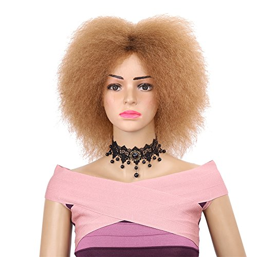 Aibelly Synthetic Full Wig Fiber Side Bang Short Kinky Afro Fluffy Wig Fashion Noble Women's Parting Heat Resistant -