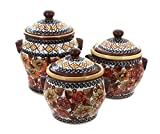 Polish Pottery Autumn Rose 3 Piece Canister Set