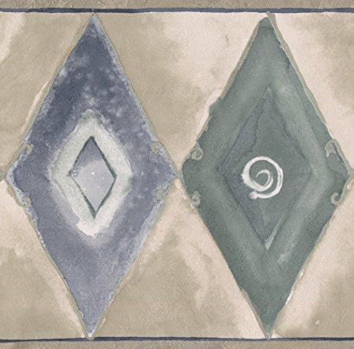 Beige Blue Black Abstract Wallpaper Border Rhombus Geometric Design, Roll 15' x 7'' ()
