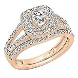 1.00 Carat (ctw) 10K Rose Gold Round Diamond Split Shank Halo Engagement Ring Set 1 CT (Size 7)