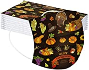 COMIOR 10Pcs Disposable_Face_Mäsks for Adult Thanksgiving Party Decors, Turkey Harvest Print 3-ply Breathable