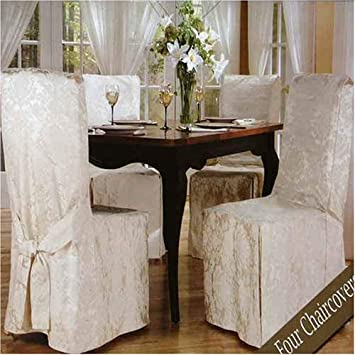 Luxury Woven Jacquard Dining Room Chair Covers 4 Pk