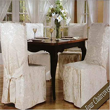 Luxury Woven Jacquard Dining Room Chair Covers 4 Pk Amazoncouk Kitchen Home