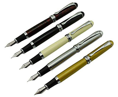Ivory Silver Pens - 5 PCS Jinhaox X750 Fountain Pens Medium Point Silver ,Ivory ,Dark Red , Gold & Black Color Set