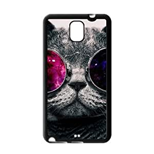 Galaxy Hipster Cat case cover for Samsung Galaxy Note 3 TPU,Metal and Hard Plastic Case-Clear Frame